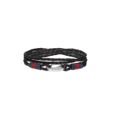 Tommy Hilfiger Men's Casual Black Leather Bracelet 2700534